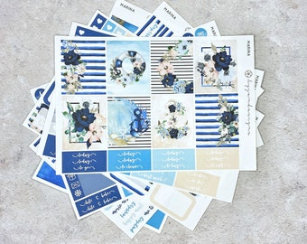 Marina - DELUXE Weekly Sticker Kit, Nautical Floral Planner Stickers, No White Space Planner Sticker Kit, for Standard Vertical Planners