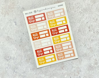 Final Sale | Warm Bill Due - Mini Sheet, Functional Bill Stickers, Multicolour Stickers, Red Orange Yellow, for Standard Vertical Planners