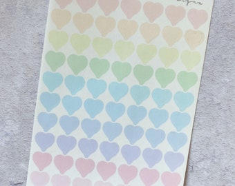 CLEAR Hearts (1cm) - Pastel Rainbow Stickers, Mini Sheet, Functional Planner Stickers,Weekly Planner Stickers, Bullet Journal Sticker (C009)