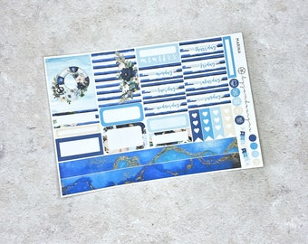 Marina - ONE PAGE Weekly Sticker Add On Kit, Nautical Floral Sticker Kit for Standard Vertical Planners