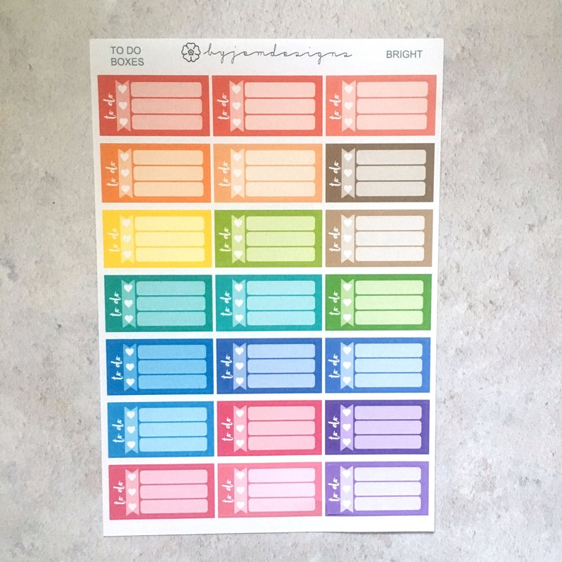 Bright To Do Boxes  Functional Box Stickers Rainbow Planner image 0