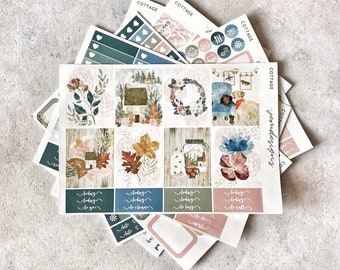 Cottage - DELUXE Weekly Sticker Kit, Fall Weekly Planner Stickers, No White Space Planner Sticker Kit, for Standard Vertical Planner