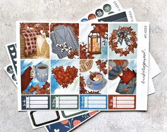 Cozy Up - MINI Weekly Sticker Kit, Floral Weekly Planner Sticker Kit, for Standard Vertical Planners