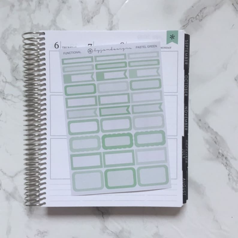 Pastel Green Functional Box Stickers Planner Stickers image 0