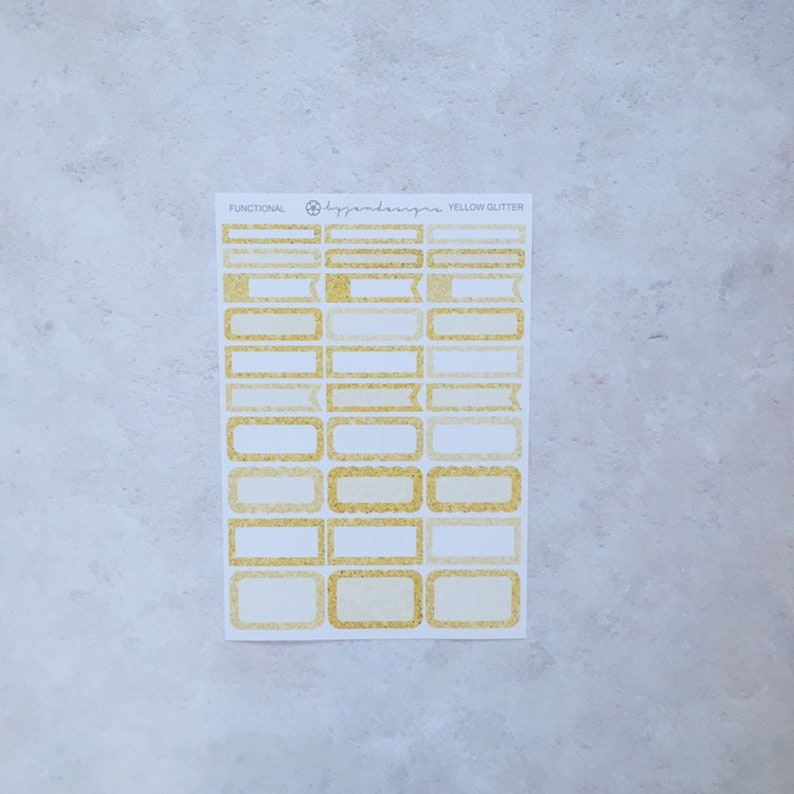 Yellow Glitter Functional Box Stickers Planner Stickers image 0