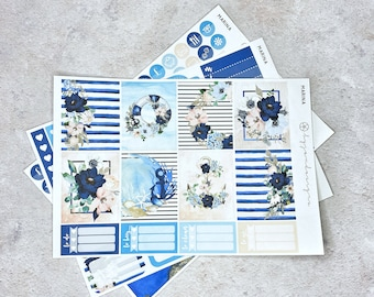 Marina - MINI Weekly Sticker Kit, Nautical Floral Weekly Planner Sticker Kit, for Standard Vertical Planners