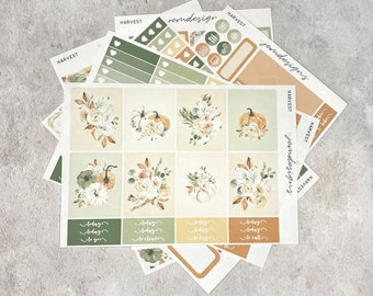 Harvest - DELUXE Weekly Sticker Kit, Fall Weekly Planner Stickers, No White Space Planner Sticker Kit, for Standard Vertical Planner