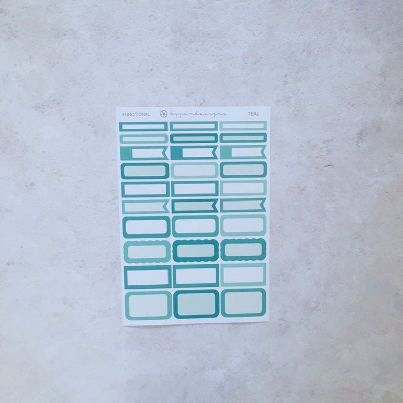 Teal Functional Box Stickers Planner Stickers Multicolour image 0