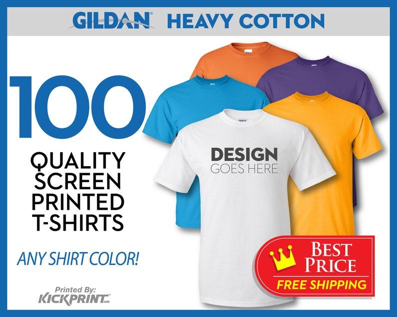 5e4f5ec04 100 Gildan Heavy Cotton Custom Screen Printed T-Shirts FREE | Etsy