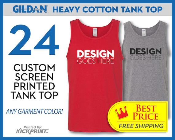 57fff41c525292 24 Custom Screen Printed Gildan Cotton Tank Tops Logo Top