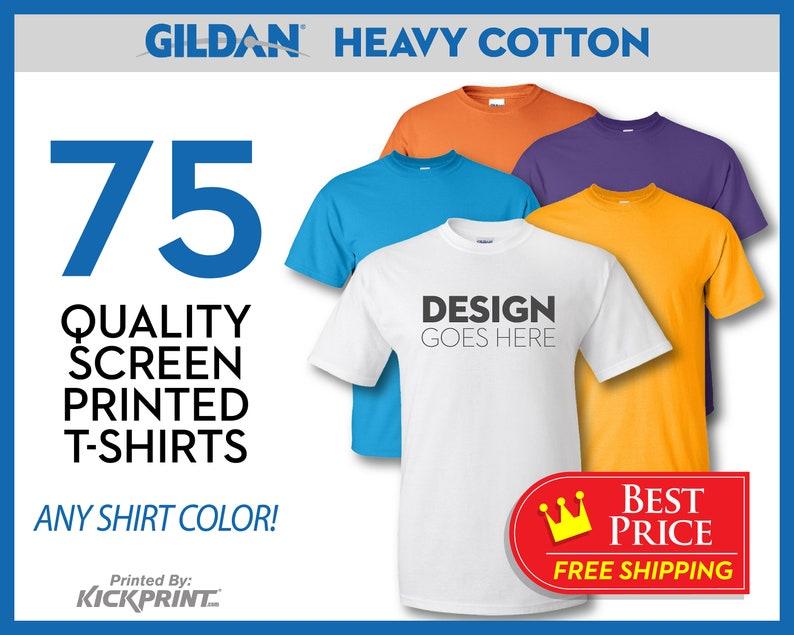 e4d2e3a4 75 Gildan Heavy Cotton Custom Screen Printed T-Shirts FREE | Etsy