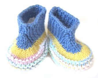 KSS New Handmade Cotton Knitted Cuffed Booties (3 - 6 Months) BO-032