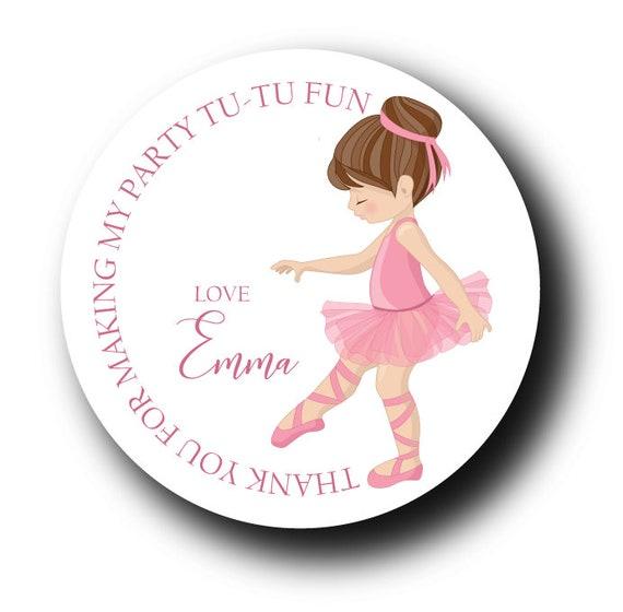 12 Ballerina Thank You Birthday Stickers
