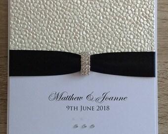 Pebble Embossed Wedding Invitation