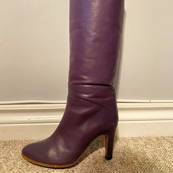 80s Purple Leather Boots
