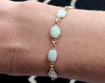 Opal Bracelet, October Birthstone Jewelry, White Opal Jewelry, Opal Necklace Gold, Gifts for Bridesmaid, Gift for Mom, White Opal Bracelet
