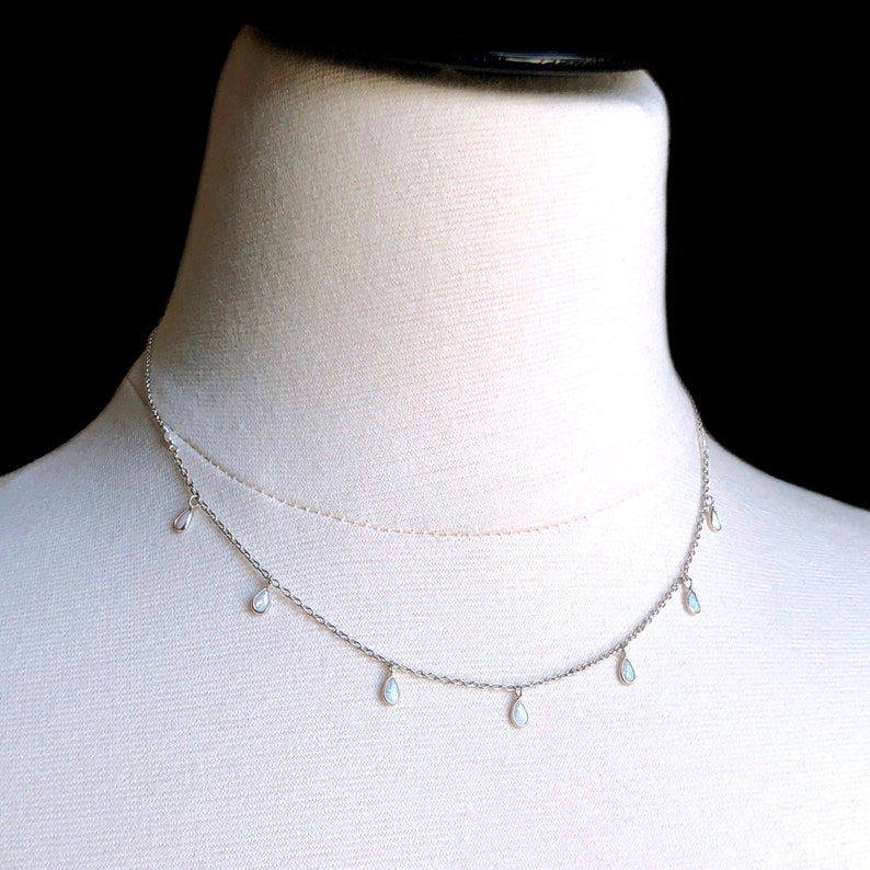 Dangle Necklace White Opal Necklace Minimalist Silver Dainty Opal Necklace White Opal Drop Sterling Silver Gift for Her Drop Necklace
