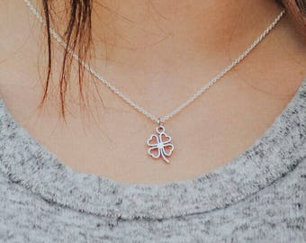 Shamrock Necklace - Lucky Four Leaf - Thin Silver Necklace - Leaf Clover Necklace - Silver Clover Charm - Good Luck Necklace