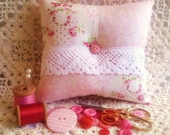 Pink Patchwork Pincushion,Victorian Pincushion, Rose Pincushion,Patchwork Pincushion,Lace Pincushion,Square Pincushion,Pin Keep,Roses