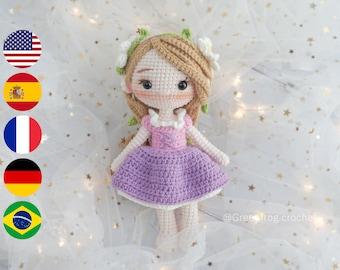 Amigurumi pattern crochet doll pattern Princess Cloudy Hair PDF in English(US terms) Español Português(BR) Deutsche Français.