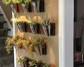 Indoor Wall Planter -wood grain horizontal mount (one row of 3 pots)