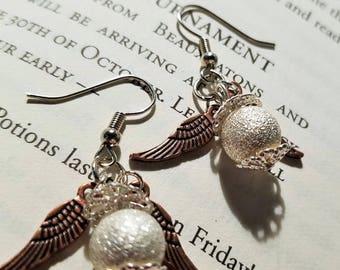 Harry Potter Silver Golden Snitch Earrings