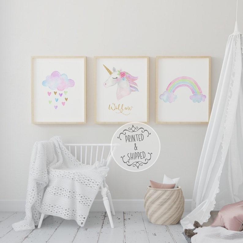 Unicorn Childrens Prints  Kids Name Print  Unicorn Decor  image 0
