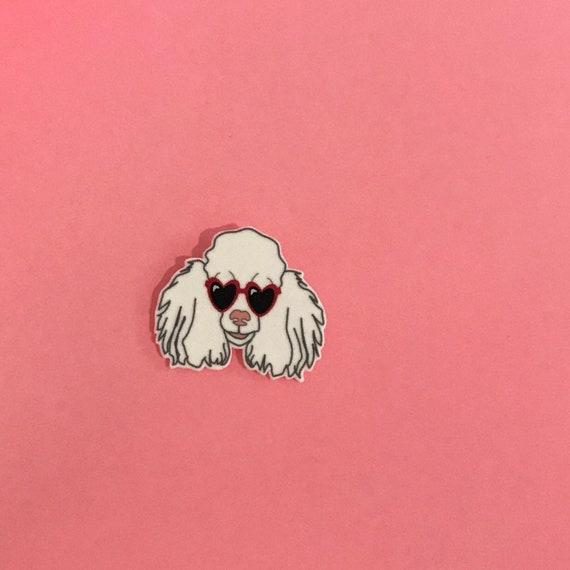Poodle Pin Brooch Lapel Pin Sunglasses Dog