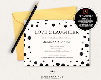 Rehearsal Dinner Invitation Template Wedding Editable Invite Printable Instant Download Polka Dots 03