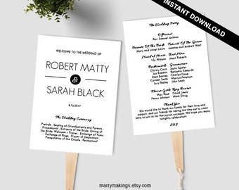 Wedding Fan Program Template Simple Diy 32