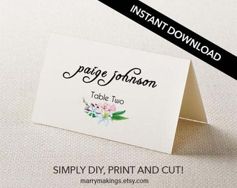 rustic place card editable wedding table name card etsy