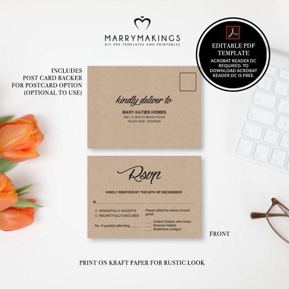 Wedding RSVP Postcard Template Pdf Printable Wedding - Postcard template pdf