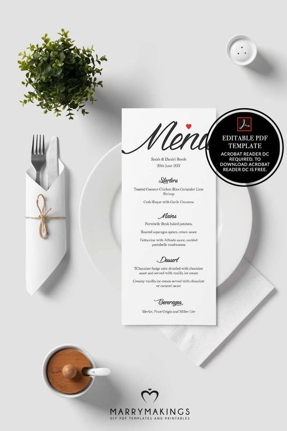 menu template wedding menu printable menu wedding template etsy