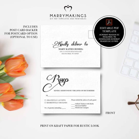 Wedding Rsvp Postcard Template Printable Wedding Editable Etsy
