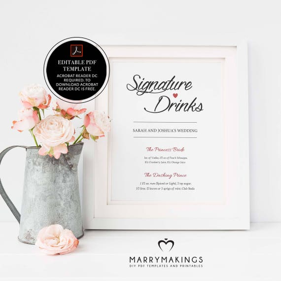 Signature Drinks Printable Editable Signature Drinks Sign Signature Cocktails Bar Sign Wedding Printable Sign Instant Download Diy 01