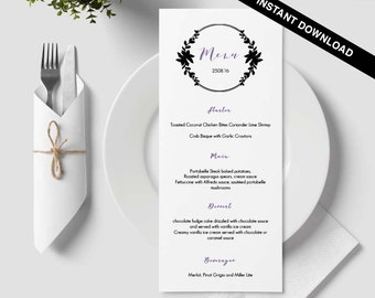 Calligraphy menu, napkin menu insert, damask wedding, bar menu template, table menu, word template, weddings, floral, wreath, circle, 37