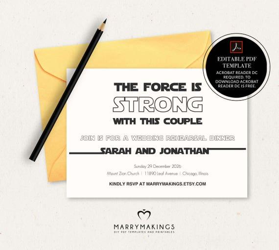 Rehearsal Dinner Invitation Template Wedding Rehearsal Editable Rehearsal Invite Star Wars Printable Invitation Instant Download Pdf 16 B
