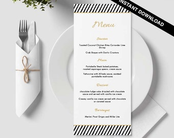 Table menu, word template, weddings, editable menu card, napkin menu insert, damask wedding, bar menu template, gold, black, lines, line, 35