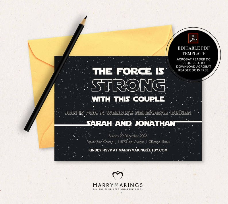 Rehearsal Dinner Invitation Template Wedding Editable Invite Star Wars Printable InvitationInstant DownloadPDF16A