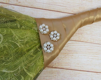 Decorated Jump Broom With Antique Pearl Jewel  Broach Bling for Jumping Broom Ceremony (Gold Ribbon)  Please Read Ad for Details!