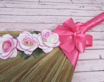 Decorated Wedding Jump Broom - Jumping Broom Ceremony - Pink Ribbon with Cascading Roses  **Please Read Ad for Details!