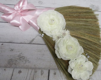 Decorated  Wedding Broom with Bling Bling for Jumping The Broom Ceremony - Cascading Roses - (Pink Ribbon) **READ AD for Color Details