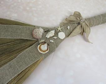Sea Shell Wedding Jump Broom - Beach Theme Jumping Broom - Florida Sea Shells! **Please Read Ad for Details!  - Jump The Broom Wedding
