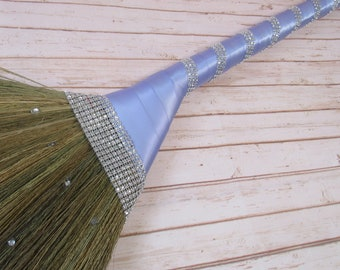 Wedding Broom with Bling Bling for Jumping The Broom Ceremony- (Ribbon Color:  Lavender)  **Please Read Ad** Jump The Broom