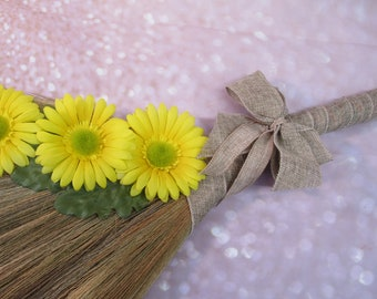 Decorated Wedding Broom with Yellow Daisies for Jumping Broom Ceremony  (Burlap Ribbon) **PLEASE READ AD for Details