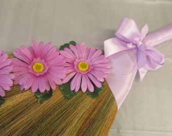 SALE!! Decorated  Wedding Jump Broom for Jumping The Broom Ceremony - Lavender Daisies (Lavender Ribbon) - **Please Read Ad for Details!