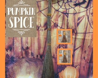 Pumpkin Spice Scent Twig Broom + 2  Mini Pumpkin Spice Brooms -Great Smell of Fall!  LIMITED TIME!  Witches Broom,  Besom Broom,