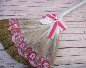 Jump Broom with Imported Lace for Jumping Broom Ceremony  ( White Ribbon - Pink/White Lace) - Jump The Broom **Please Read Ad for Details!