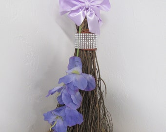 Decorated Broom with Bling for Jumping Broom Ceremony - Natural Birch Twig Broom (Lavender Ribbon / Lavender Flowers) *Please Read Ad ***
