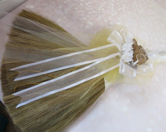 Cinderella Carriage Theme Wedding Jump Broom for Jumping The Broom Ceremony -  (Ivory Ribbon) *PLEASE READ AD for Details